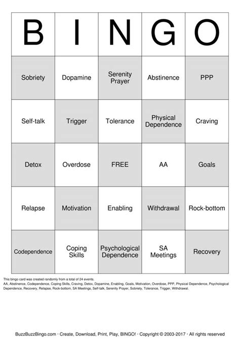 Template For Cards For Sexual Abuse by Substance Abuse Recovery Bingo Cards To Print