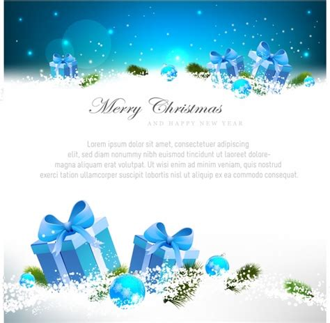 Christmas Gift Greeting Cards - blue christmas greeting card with gift boxes free vector in adobe illustrator ai ai