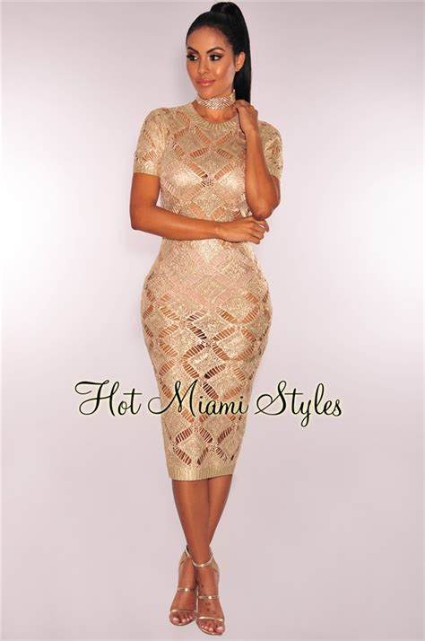 Gold Sheer Knit Metallic Foil Dress
