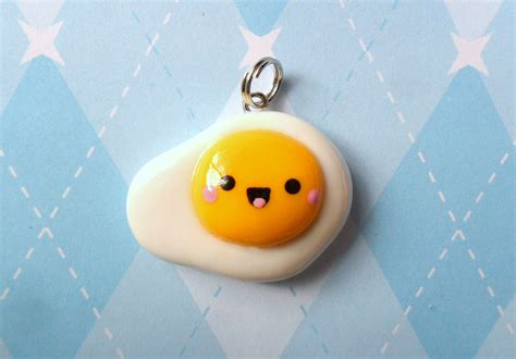 kawaii egg charm side up polymer clay charm by