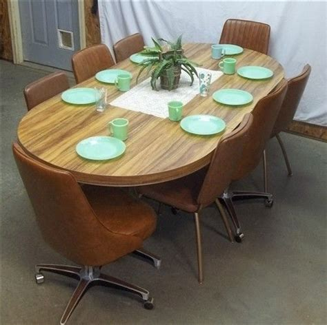 retro table 8 chairs dining room kitchen modern mid