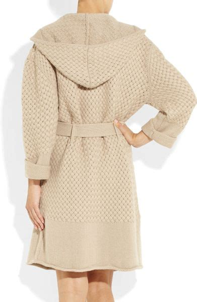 waffle knit robe burberry brit hooded waffle knit robe in beige lyst