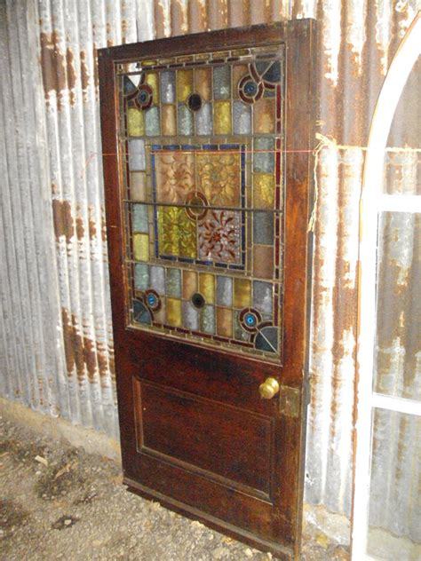 Reclaimed Glass Doors Early 20th Century Leaded Stained Glass Door Authentic Reclamation