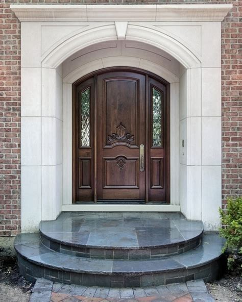 house front door doors circle door step brick wall luxury front door