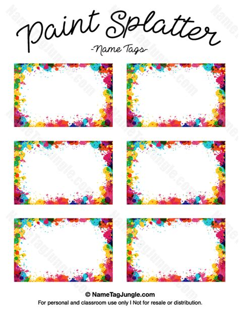 name tag labels template free printable paint splatter name tags the template can