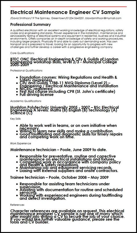electrical maintenance engineer resume sles electrical maintenance engineer cv sle myperfectcv