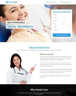 Promote Your Dental Care Business Using Our Clean And Modern Landing Page Design Template Olanding Dental Landing Page Template