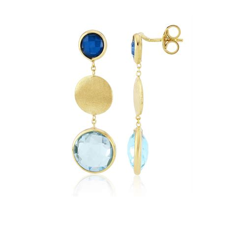 A595 Blue Topaz 6 9 Ct blue topaz topaz and solid yellow gold earrings by