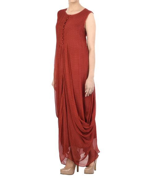 Pleated Maroon Dress maroon chiffon pleated dhoti dress by myoho by kiran and