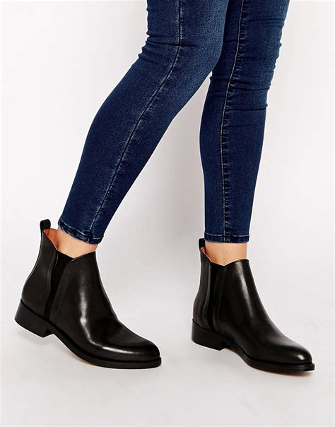 whistles whistles bryton black flat chelsea boots at asos