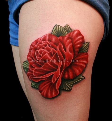 realistic red rose tattoo realistic tattoos