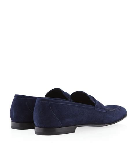 armani loafers giorgio armani suede loafer in blue for lyst