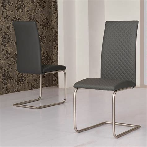 Grey Faux Leather Dining Chairs Ronn Dining Chair In Grey Faux Leather In A Pair 28673