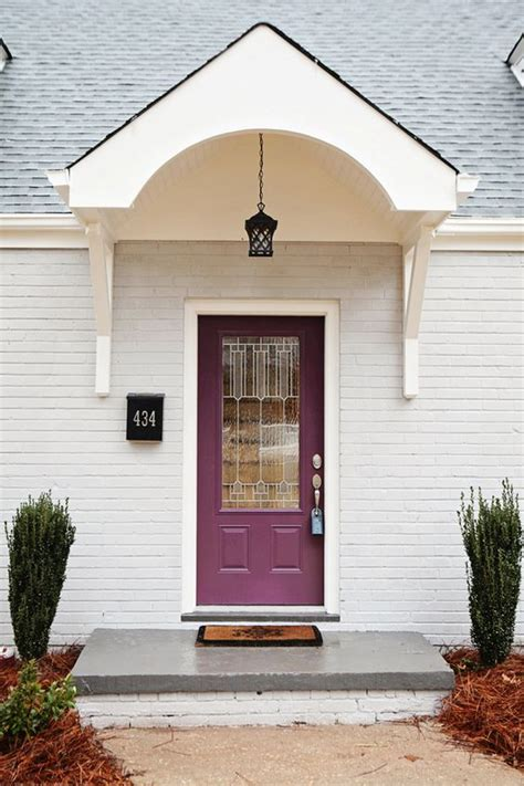 Cape Cod Front Doors Portico Added To 1950 S Cape Cod Blackberry By Sherwin Williams On The New Door The Outside