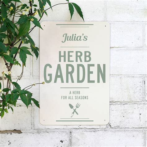 Metal Herb Garden Signs by Personalised Herb Garden Metal Sign By Delightful Living