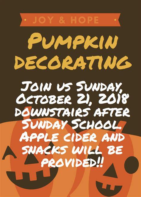 joy  hope pumpkin decorating event  annunciation
