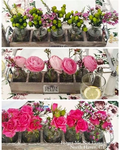 Various Different Flowers In Small Containers For Wedding Wedding Centerpieces Not Flowers
