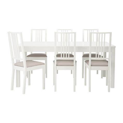 Ikea Latt Meja Anak Dengan 2 Kursi Putih Kayu Pinus bjursta b 214 rje meja dan 6 kursi ikea