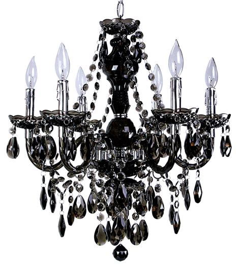 Black Chandelier Lighting by Titus Manufacturing Concerto 6 Light Black Chandelier