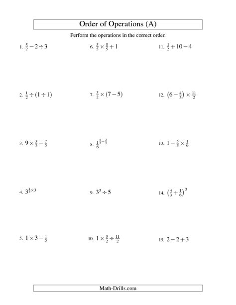 order of operations worksheet fractions order of
