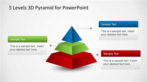 3 Levels 3d Pyramid Template For Powerpoint Slidemodel Pyramid Powerpoint Template
