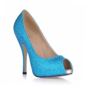 Charming blue stiletto heels peep toe prom evening shoes shoespie