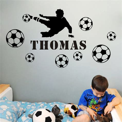soccer home decor 2016 shooting boy diy personalized name wall sticker