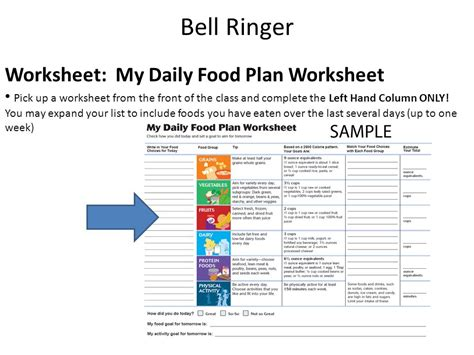 My Daily Food Plan Worksheet by 6th Grade Health Unit 3 Nutrition Ppt