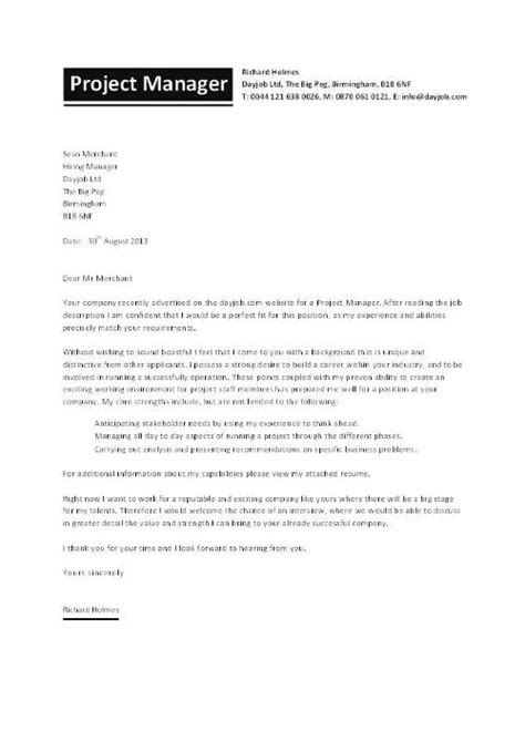 cover letter for a project new it project manager cover letter exles 44 in