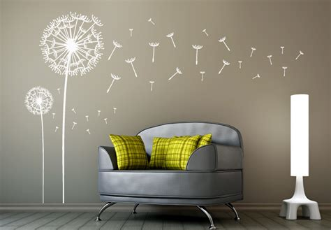 dandelion wall sticker dandelions set of 2 wall decal dandelion vinyl