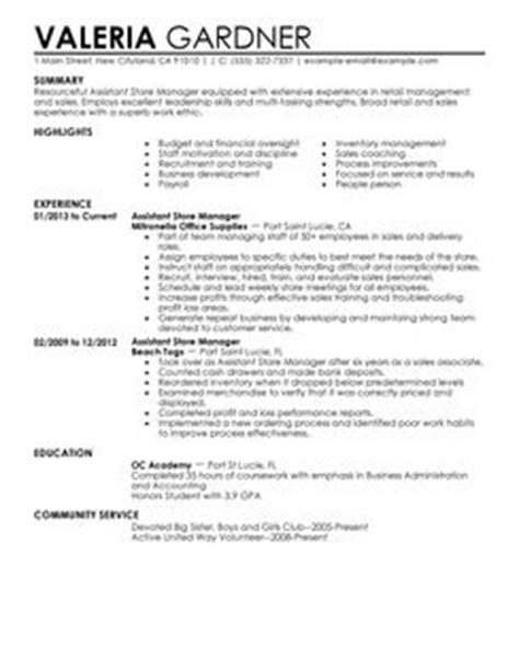 assistant store manager resume exle retail sle resumes livecareer