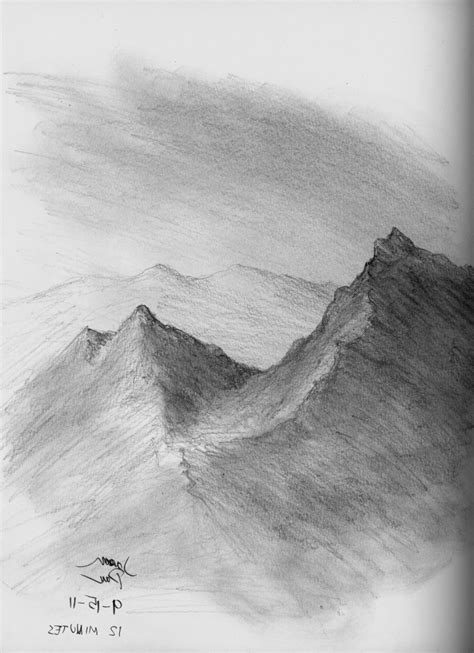 Sketches Mountains by Pencil Drawings Of Mountains Drawing Sketch Galery