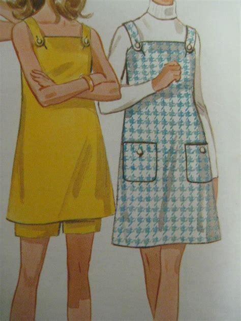free pattern jumper dress vintage butterick 5270 overall dress or jumper shorts