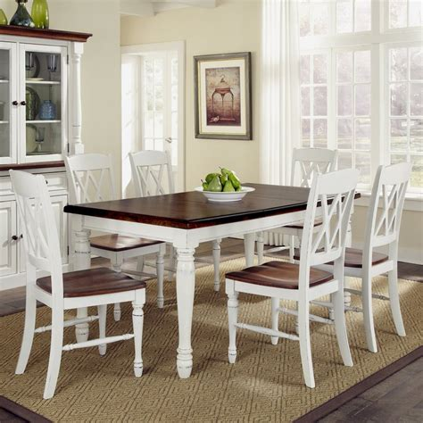 shop home styles monarch whiteoak dining set  rectangular dining table  lowescom