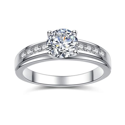 engagement rings for women 925 sterling silver cubic zirconia 0 93 ct round cut women