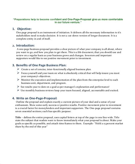 template one page business proposal for new equipment smart buyer