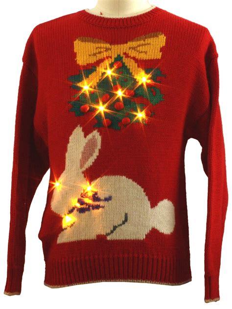 Sweater Rabbits killer rabbit lightup sweater unisex white yellow green