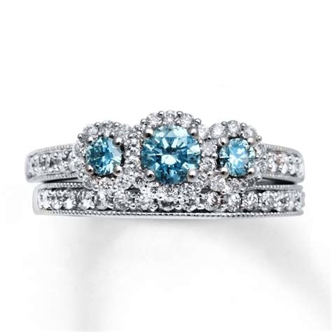 collection  blue diamond wedding ring sets