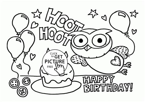 printable owl birthday card funny owl on the birthday card coloring page for kids