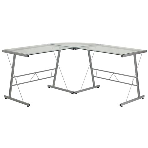 Glass Desk L Shape Glass L Shape Computer Desk With Silver Frame Finish Nan Cd 22181 Gg
