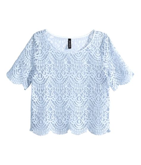 Light Blue Top by H M Lace Top In Blue Lyst