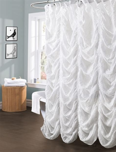 how to select curtain color white ruffled shower curtain ideas for charming bathroom