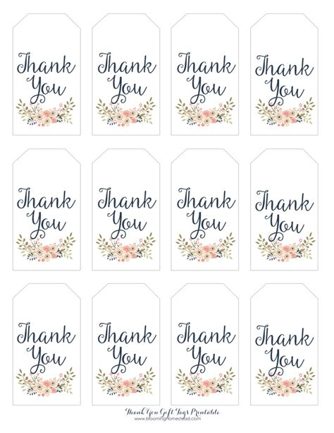 thank you card template baby shower tags thank you gift tags blooming homestead