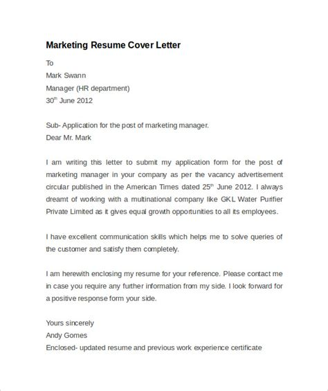 advertising cover letter exle application letter for marketing department