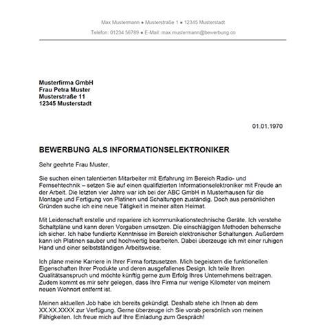 Bewerbungsschreiben Center Bewerbung Als Informationselektroniker Informationselektronikerin Bewerbung Co