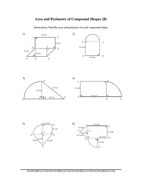 printable shapes to measure perimeter compound area worksheets the area and perimeter of