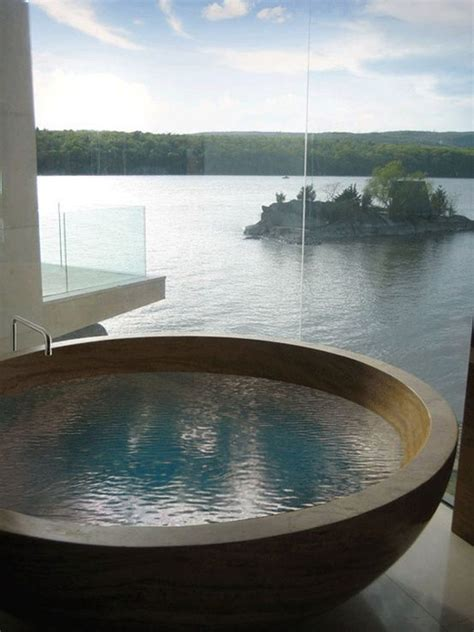 the best bathtubs wood bathtub with lake view