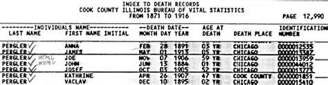 Illinois Records Index Pergler Family History Jan Pergler 1884