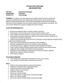 Assistant Manager Responsibilities by Sle Assistant Manager Description 9 Exles In