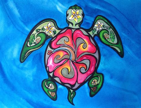 green sea turtle tribal hibiscus turtle turtle